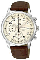 Seiko Sndc31p1 Chronograph Leather Strap Watch, Brown/cream