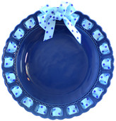 Prissy Plates Decorative Round Blue Ceramic Ribbon Plate, Blue Polka Dots