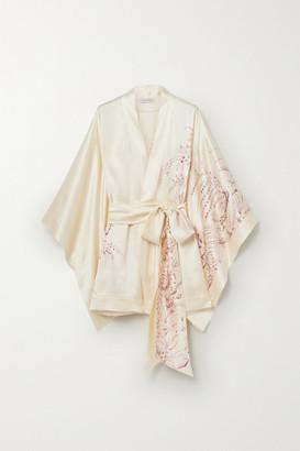Carine Gilson Floral-print Silk-satin Robe - Cream