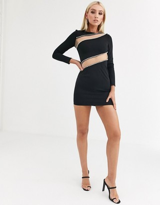 ASOS DESIGN long sleeve bodycon mini dress with mesh and diamante cut out detail
