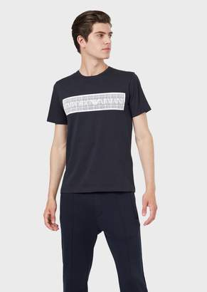 Emporio Armani Jersey T-Shirt With Water-Based Logo Print