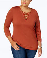 INC International Concepts Anna Sui Loves Plus Size Lace-Up Top, Created for Macy's
