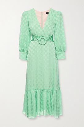 PatBO Belted Polka-dot Satin-jacquard Midi Dress - Mint