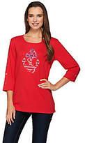 As Is Quacker Factory Stars & Stripes Anchor's Away 3/4 T-shirt