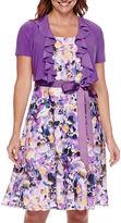 R & M Richards R&M Richards Floral Ruffle Jacket Dress - Petite