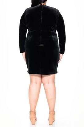 Alexia Admor Juliana Velvet V-Neck Draped Dress