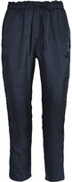 Clu Corded Lace-paneled Satin-twill Track Pants - Navy