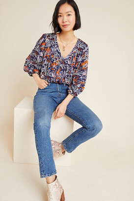 Maeve Cathy Pleated Blouse By in Blue Size XS