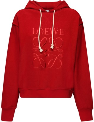 Loewe Embroidered Logo Cotton Jersey Hoodie