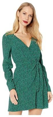Sanctuary Stay The Night Wrap Dress (Mini Emerald Leo) Women's Clothing
