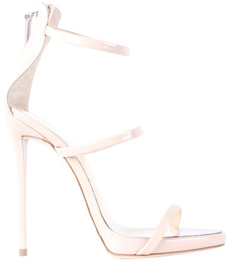 Giuseppe Zanotti Beige Patent Leather Ankle Strap Sandals Size 37