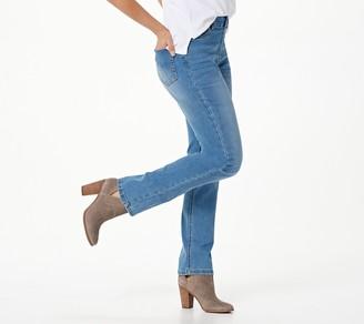 Denim & Co. Easy Stretch Petite Pull-On Straight-Leg Jeans
