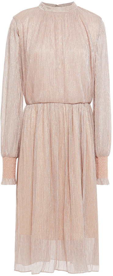 Sachin + Babi Gathered Metallic Plisse-jersey Dress