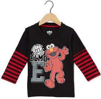 Children's Apparel Network Boys' Tee Shirts Black - Sesame Street Elmo 'E' Layered Tee - Toddler