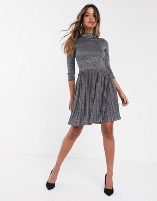 Ted Baker Noaleen high neck sparkle mini dress-Blue