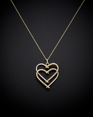 Italian Gold 14K Two-Tone Double Heart Necklace