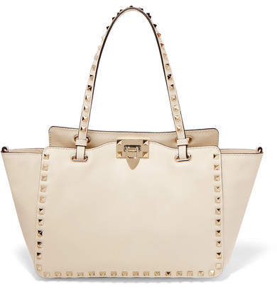 Valentino Garavani The Rockstud Leather Trapeze Bag - Ivory