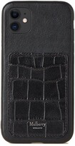 Thumbnail for your product : Mulberry iPhone 11 Case With Credit Card Slip Black Soft Printed Croc and Silky Calf
