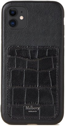 Mulberry iPhone 11 Case With Credit Card Slip Black Soft Printed Croc and Silky Calf