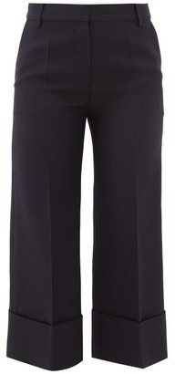 Valentino Virgin Wool-blend Cropped Trousers - Navy