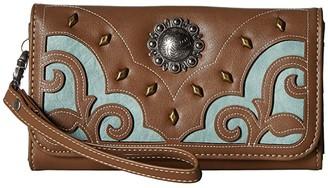M&F Western Calico Kate Clutch Wallet (Brown) Handbags