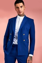 boohoo Mens Blue Skinny Double Breasted Button Detail Suit Jacket, Blue