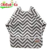 OHBABYKA Baby Waterproof Sleeved Bib for Infant Toddler,6-24 Months (2 pieces in different colors)