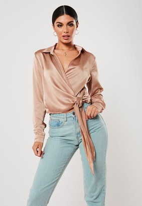 Missguided Bronze Satin Tie Side Blouse
