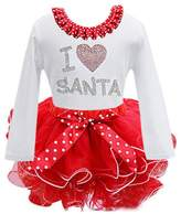 Susenstone New Baby Girl Kids Bowknot Long Sleeve Christmas Day Dress Clothes