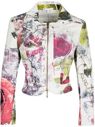 Roberto Cavalli Multicolor Printed Denim Jacket, Crop Top and Maxi Skirt Set S