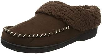 Dearfoams Women's Microsuede Clog with Whipstitch Tab and Memory Foam Low-Top Slippers, Brown (Espresso 00205), 7-8 Uk (40-41 EU)