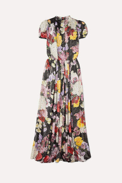 Dolce & Gabbana Metallic Floral-print Silk-blend Chiffon Gown - Black