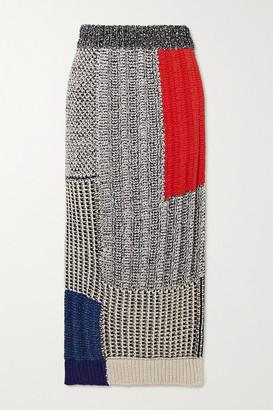 Stella McCartney Patchwork Knitted Midi Skirt - Black