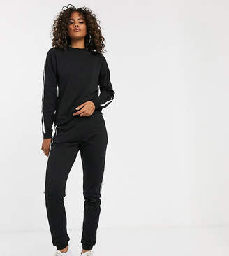 Asos Tall DESIGN Tall tracksuit sweat / basic jogger with tie with contrast binding-Black