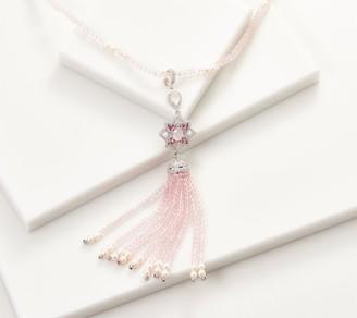 Sterling Silver Gemstone & Cultured Pearl Tassel Enhancer & Bead Necklace