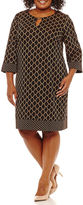 Ronni Nicole 3/4 Sleeve Jacquard Sheath Dress-Plus