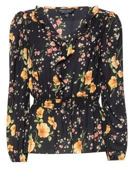 Dorothy Perkins Womens Black Floral Print Long Sleeve Top, Black