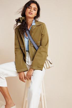BEIGE Olivia Contrast-Stitch Utility Jacket By Amadi in Size XS