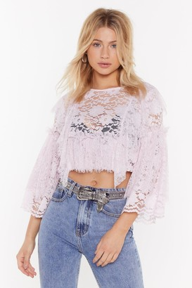 Nasty Gal Womens Tiered Lace Crop Top - Lilac