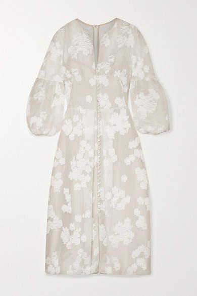 Lela Rose Striped Fil Coupé Silk-blend Organza Midi Dress - Ivory
