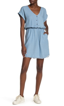 Splendid Short Sleeve Pocket Raw Hem Dress