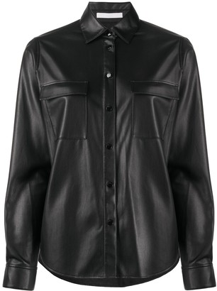 HUGO BOSS Faux-Leather Long-Sleeve Shirt