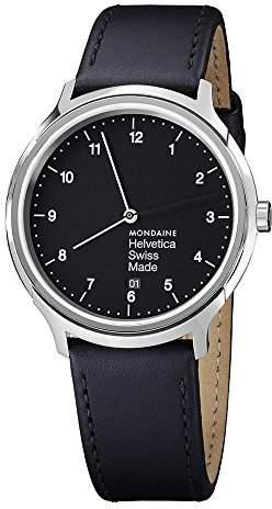 Mondaine Helvetica No1 Regular Women's/ Men's Watch, Black Dial with Date and Black Strap