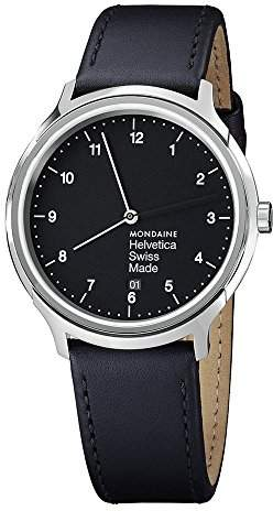 Mondaine Men's Quartz Watch with Black Dial Analogue Display and Black Leather Strap MH1.R2220.LB