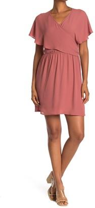 Dr2 By Daniel Rainn Flutter Sleeve Wrap Dress