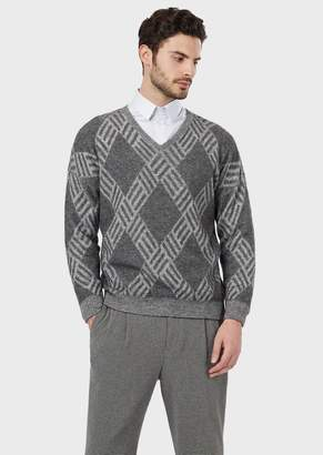 Giorgio Armani Flat-Knit, Plated Jersey Sweater In Wool And Cashmere