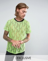 Reclaimed Vintage Inspired T-shirt In Green Lace