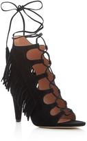 Sigerson Morrison Marita Fringe Lace Up High Heel Sandals