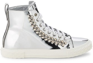 Giuseppe Zanotti Rockstud-Embellished Patent Leather High-Top Sneakers