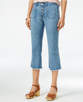 Indigo Rein Juniors' Frayed Cropped Flared Jeans